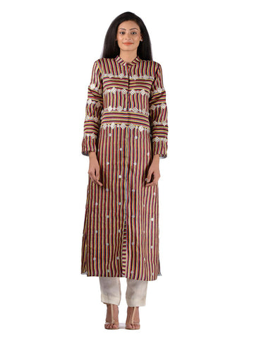 BUNDI MULTI STRIPE KURTA SET
