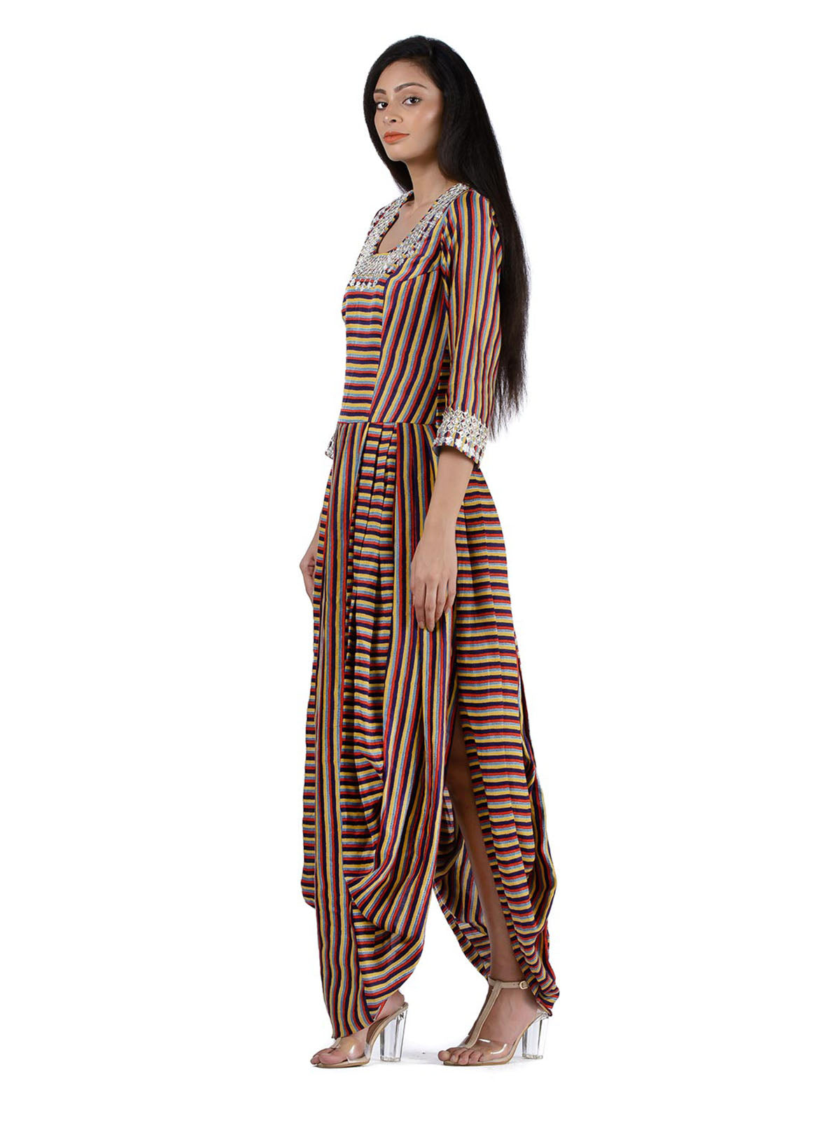 MULTI STRIPES LINEN SATIN DHOTI DRESS