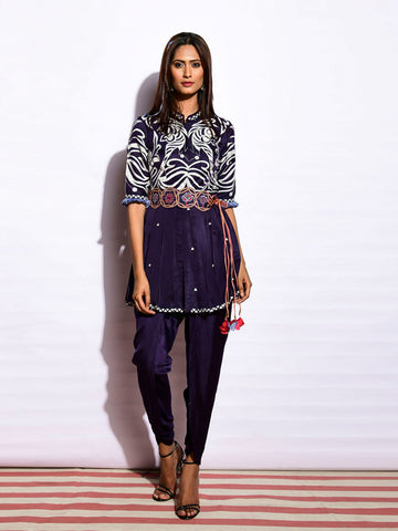 EKRANG TOTA NAVY PEPLUM TOP WITH DHOTI PANTS AND EMBROIDED BELT