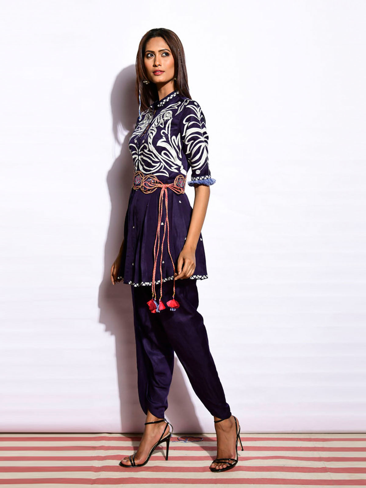 TOTA NAVY PEPLUM TOP WITH DHOTI PANTS