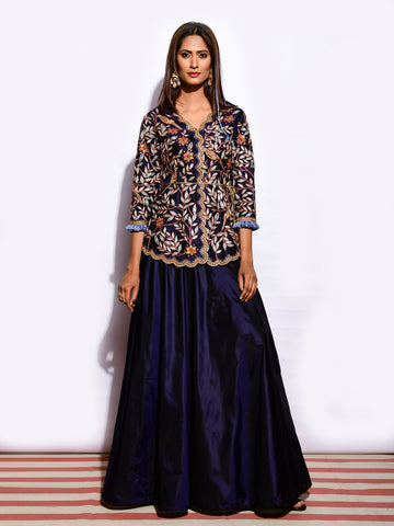 MITTHU EMBROIDED SCALLOP TOP WITH PLAIN SILK SKIRT