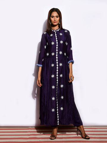 TARA CRUSHED APPLIQUE KURTA WITH PANTS