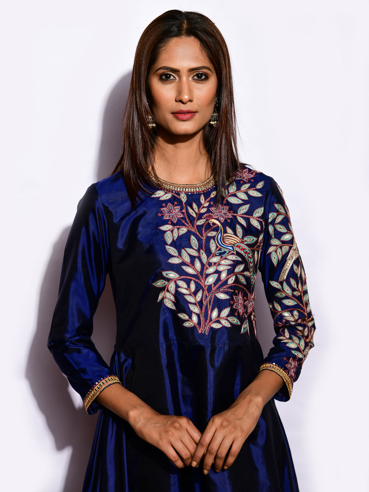 EKRANG  NAVY ASYMMETRICAL KURTA WITH STRAIGHT PANTS