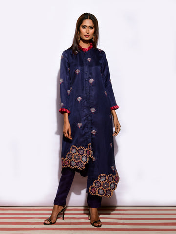 KAMAL NAVY ASYMETRICAL EMB. FRINGE TUNIC WITH  STRAIGHT PANTS