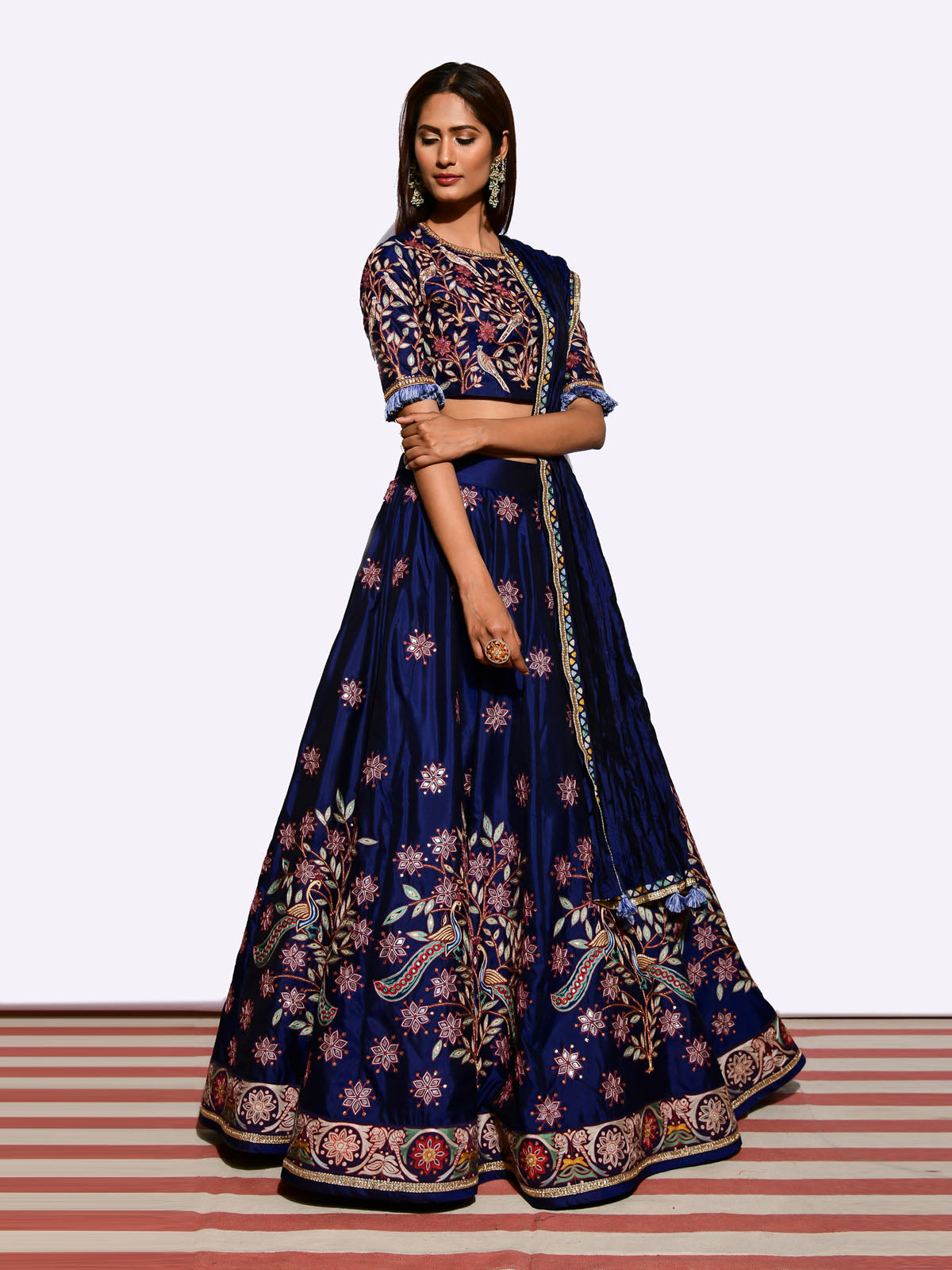 MOR EMBROIDERED LEHENGA WITH BLOUSE AND CRUSHED DUPATTA