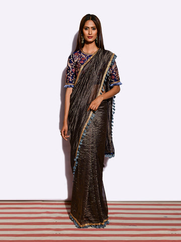 SUNHERI MORBAGH CHANDERI BROCADE FRINGE SAREE WITH EMBROIDED BLOUSE