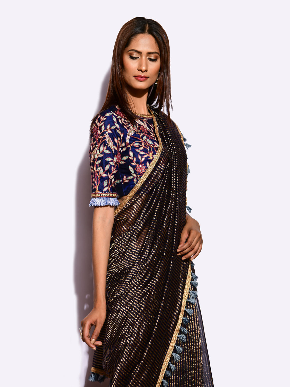 EKRANG SUNHERI  SAREE WITH EMBROIDED BLOUSE