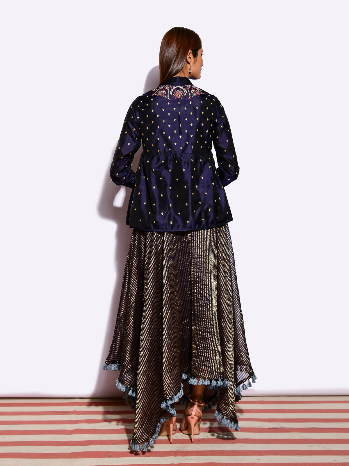 MORIYA EMBROIDED JACKET WITH ASYMEETRICAL SILK DRESS