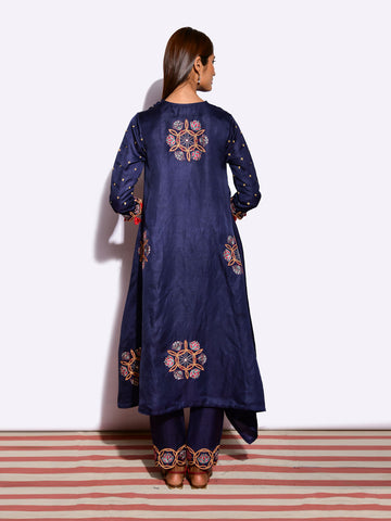 KAMAL ASYMMETRICAL NAVY TUNIC WITH PANTS