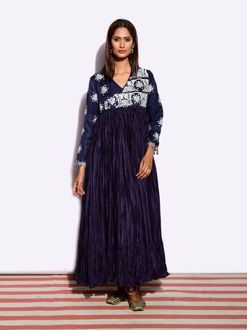 TOTA TARA NAVY CRUSHED WRAP STYLE APPLIQUE DRESS