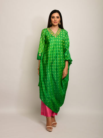 PATANG EMBROIDED SHIBORI GREEN ASYMMETRICAL TUNIC