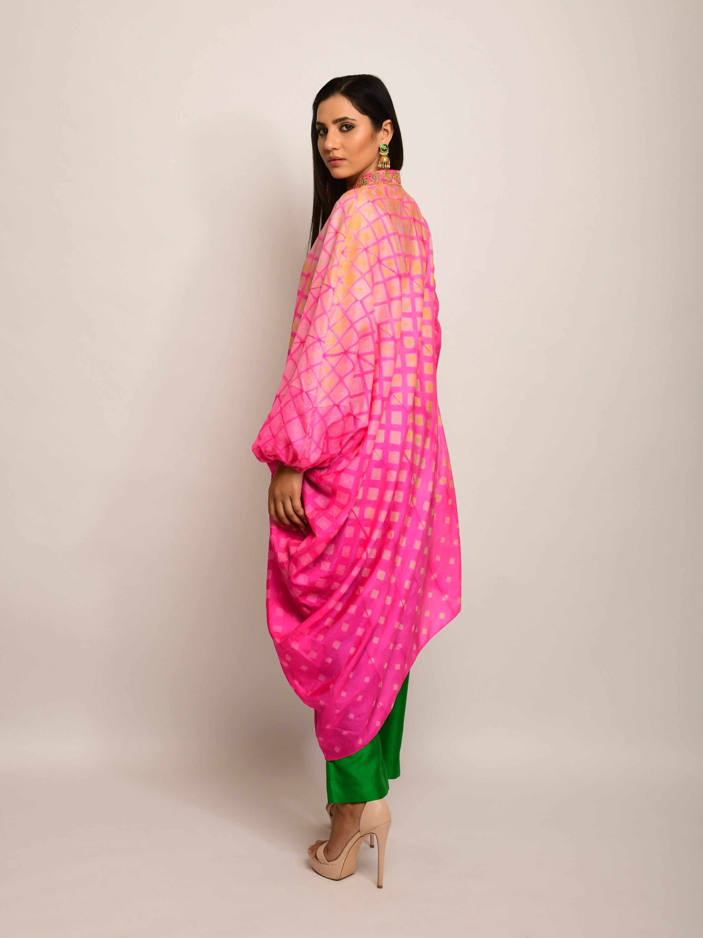 PATANG EMBROIDED SHIBORI PINK ASYMMETRICAL TUNIC