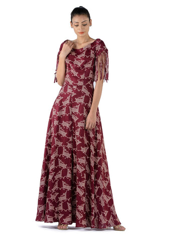 BLOOM PURPLE JAAL CHANDERI FRILL DRESS