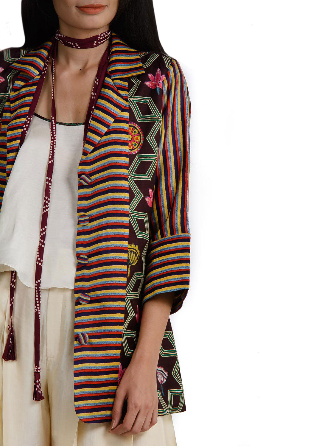 Multi Print Short Jacket with singlet and pleated pants
