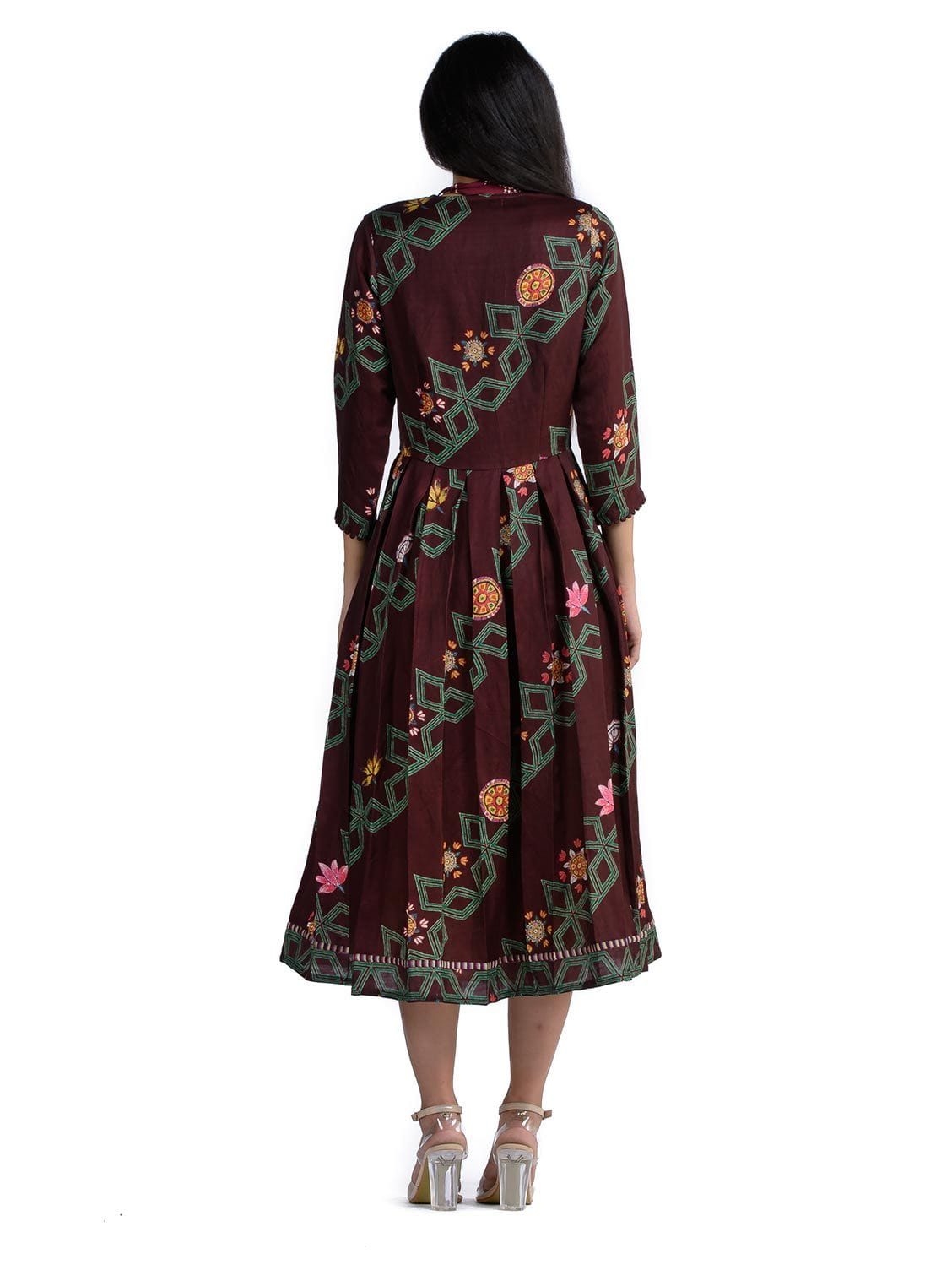 Bundi Maroon Printed Jacket Dress