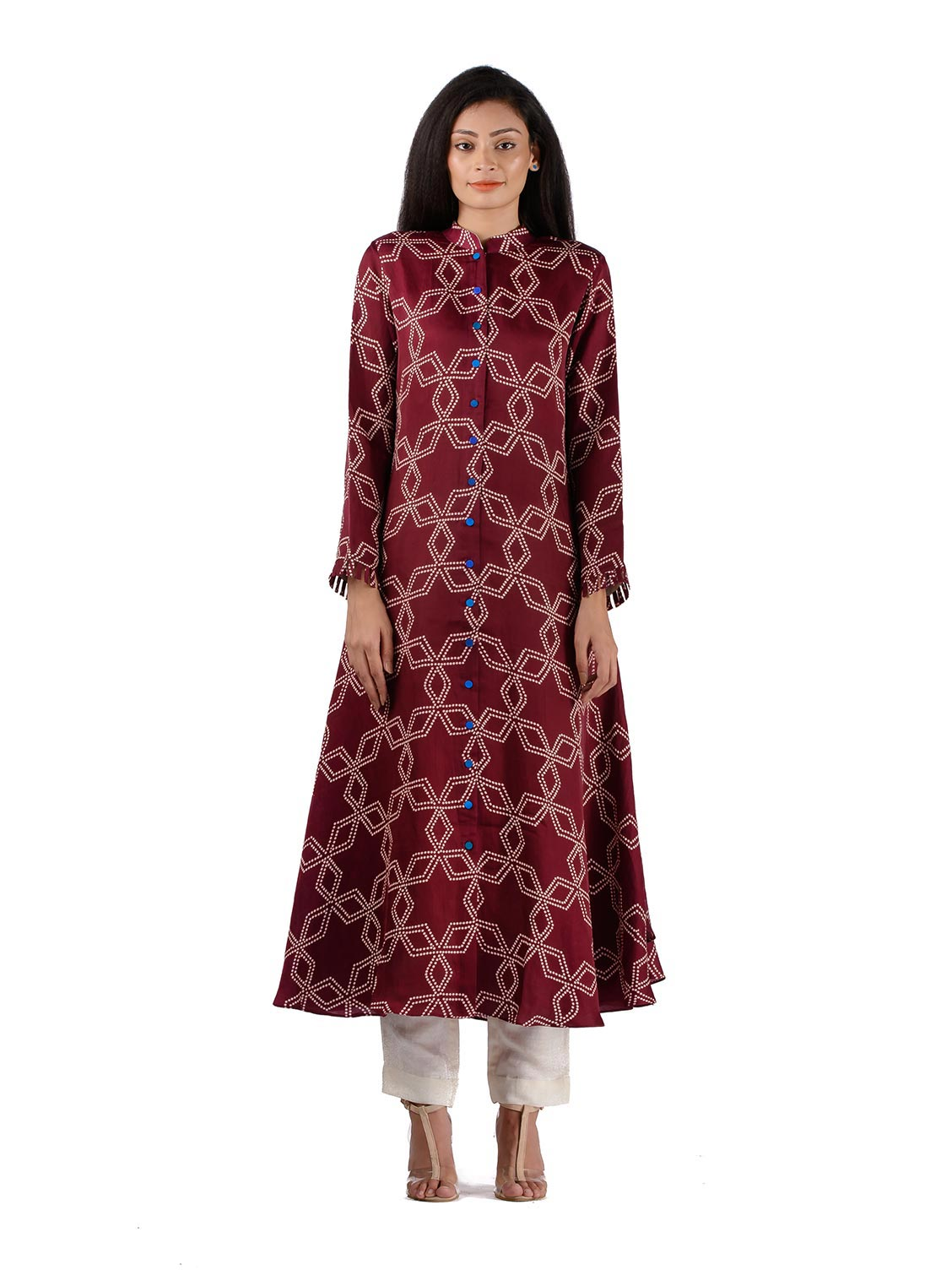 Bundi Printed Flared Kurta