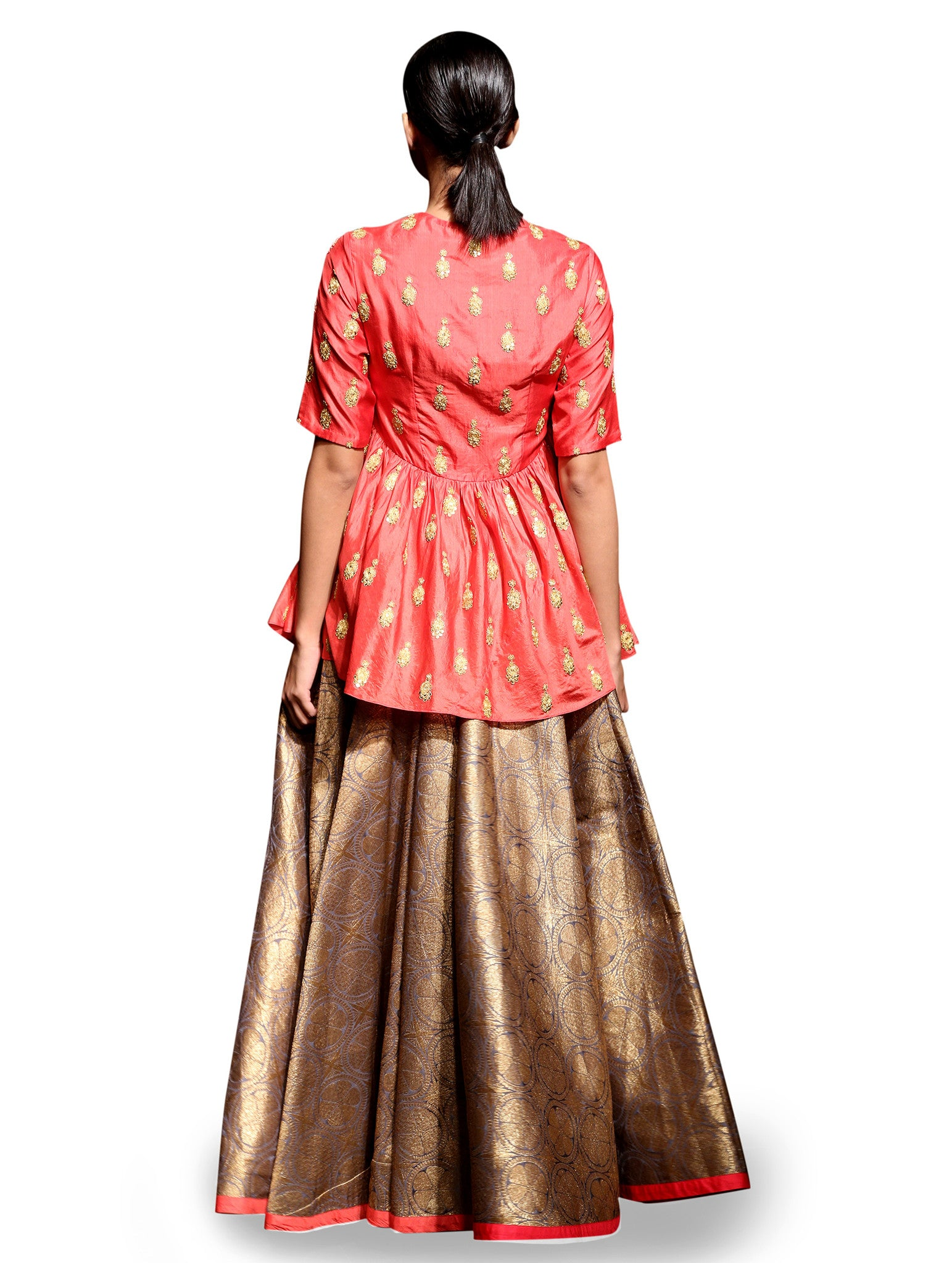 RAAS PEPLUM TOP AND GOLD BROCADE LEHENGA SET