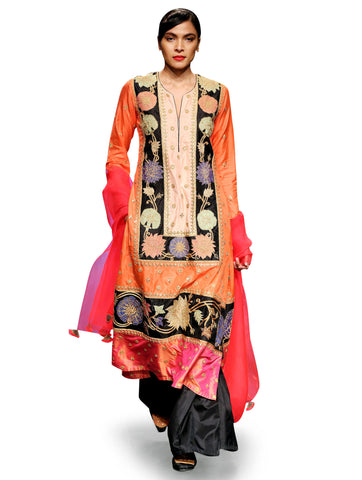 RAAS ORANGE PINK APPLIQUE KURTA SET
