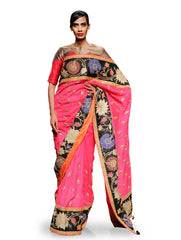 RAAS PINK APPLIQUE EMBROIDERED SAREE