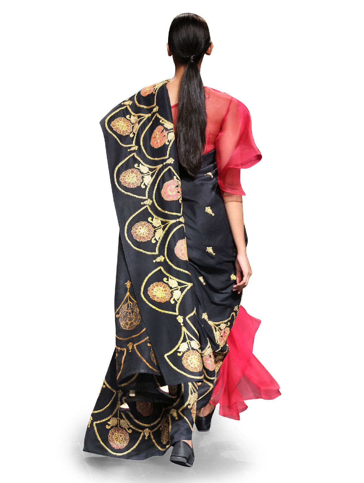 Raas Black Scallop Embroidered Saree