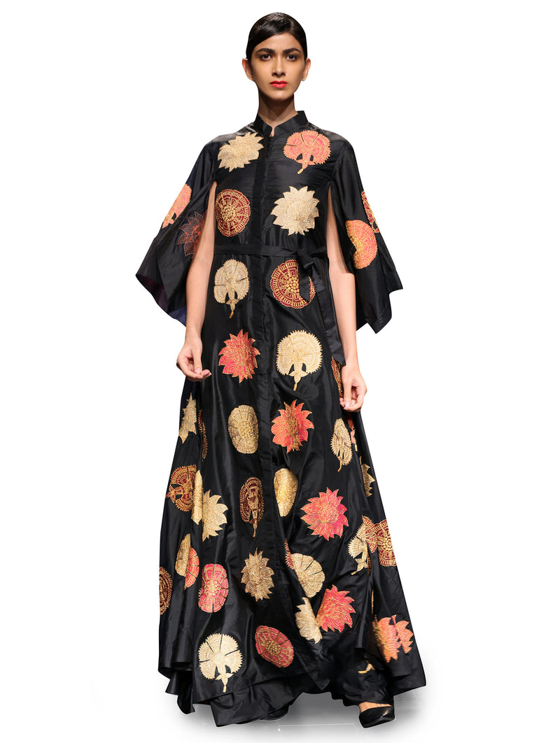 RAAS BLACK FLORAL APPLIQUE DRESS