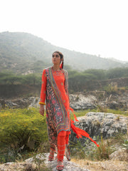 MORBAGH GReY EMBROIDED AND PRINTED CAPE WITH ORANGE EMBROIDED KURTA AND PANTS