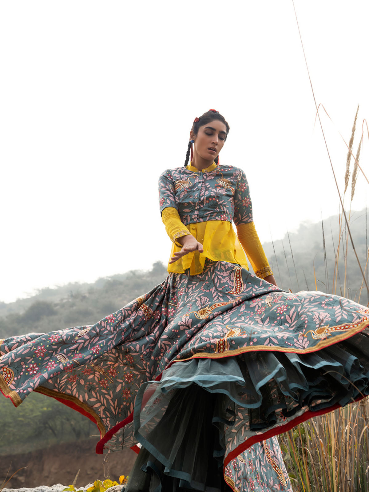 MORBAGH GReY EMBROIDERED LEHENGA, CROP TOP AND SHEER SHIRT