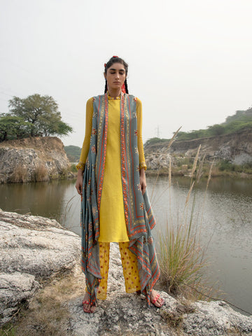 MORBAGH GReY EMBROIDED AND PRINTED CAPE WITH yellow kurta and ORGANZA PANTS