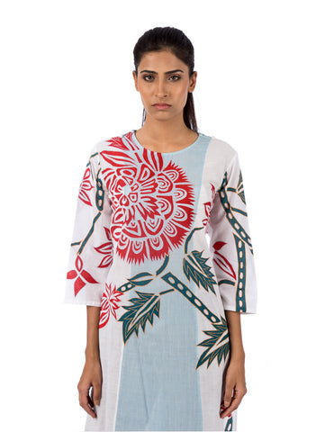 Blue White Applique Embroidered Kurta