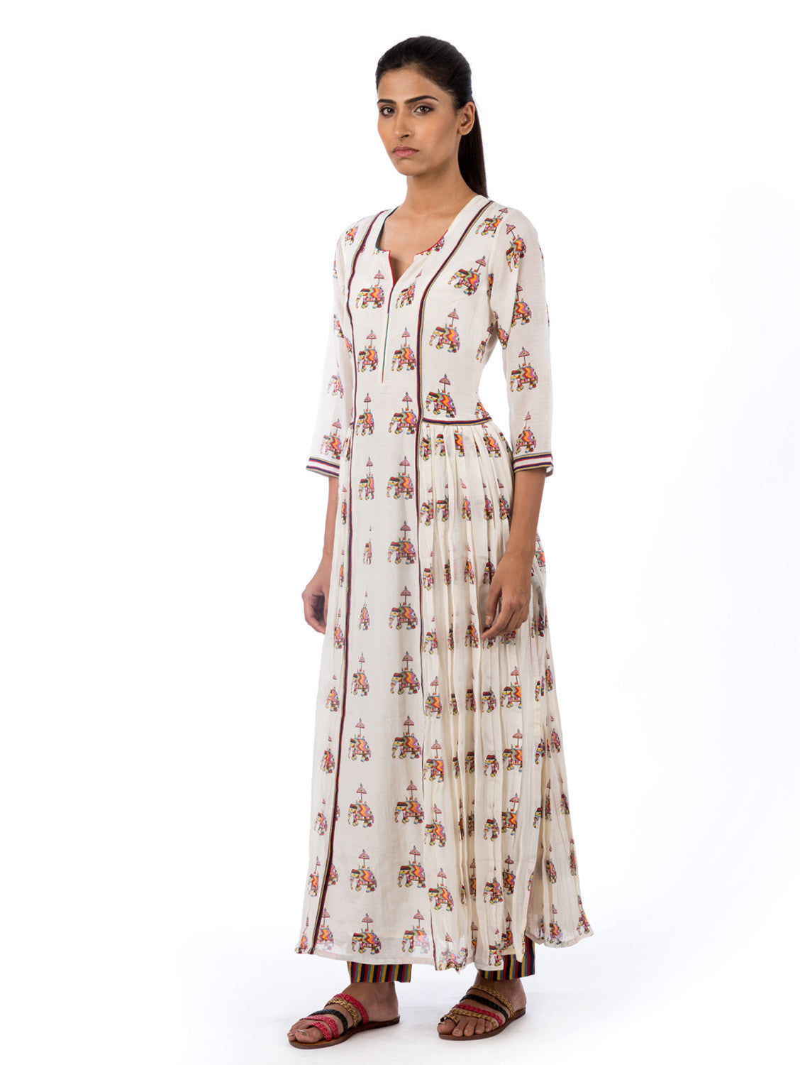 Cotton linen Kurta printed
