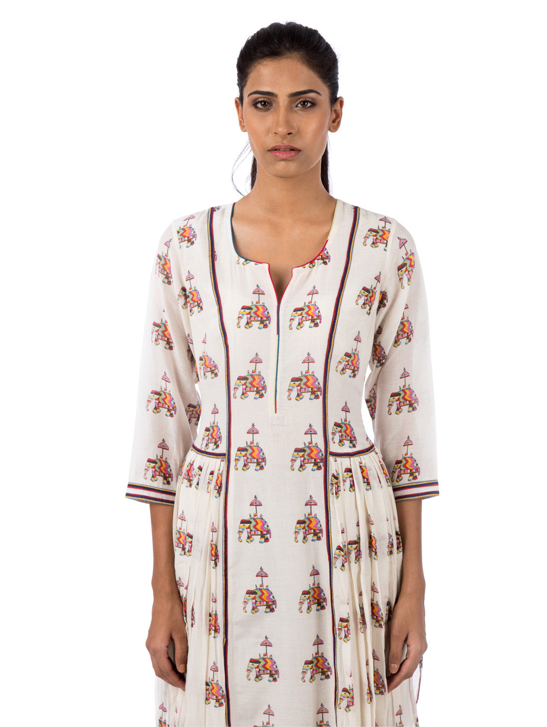 Love For Stripes Elephant Motif Printed Kurta
