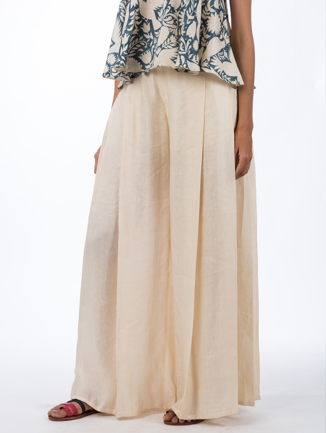 Off White Pleated Palazzo Pants