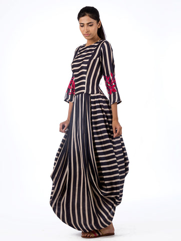 Navy Striped Dhoti Dress