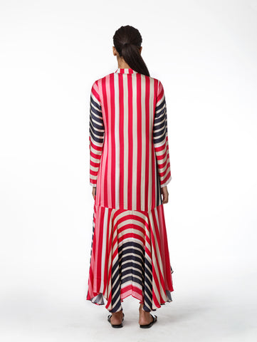 Multi Stripe Asymmetrical Dress