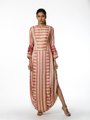 striped dress. Dhoti dress