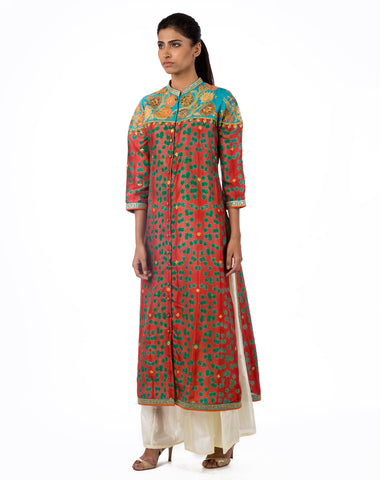 RUST SHIBORI EMBROIDERED KURTA WITH PLAZZO PANTS