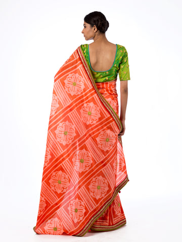 Coral Square Flower Shibori Silk Saree Set