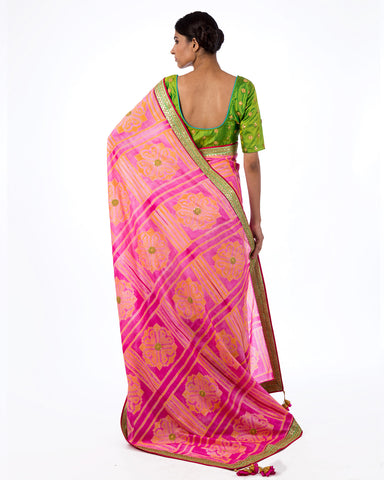 Rose Square Flower Shibori Silk Saree Set