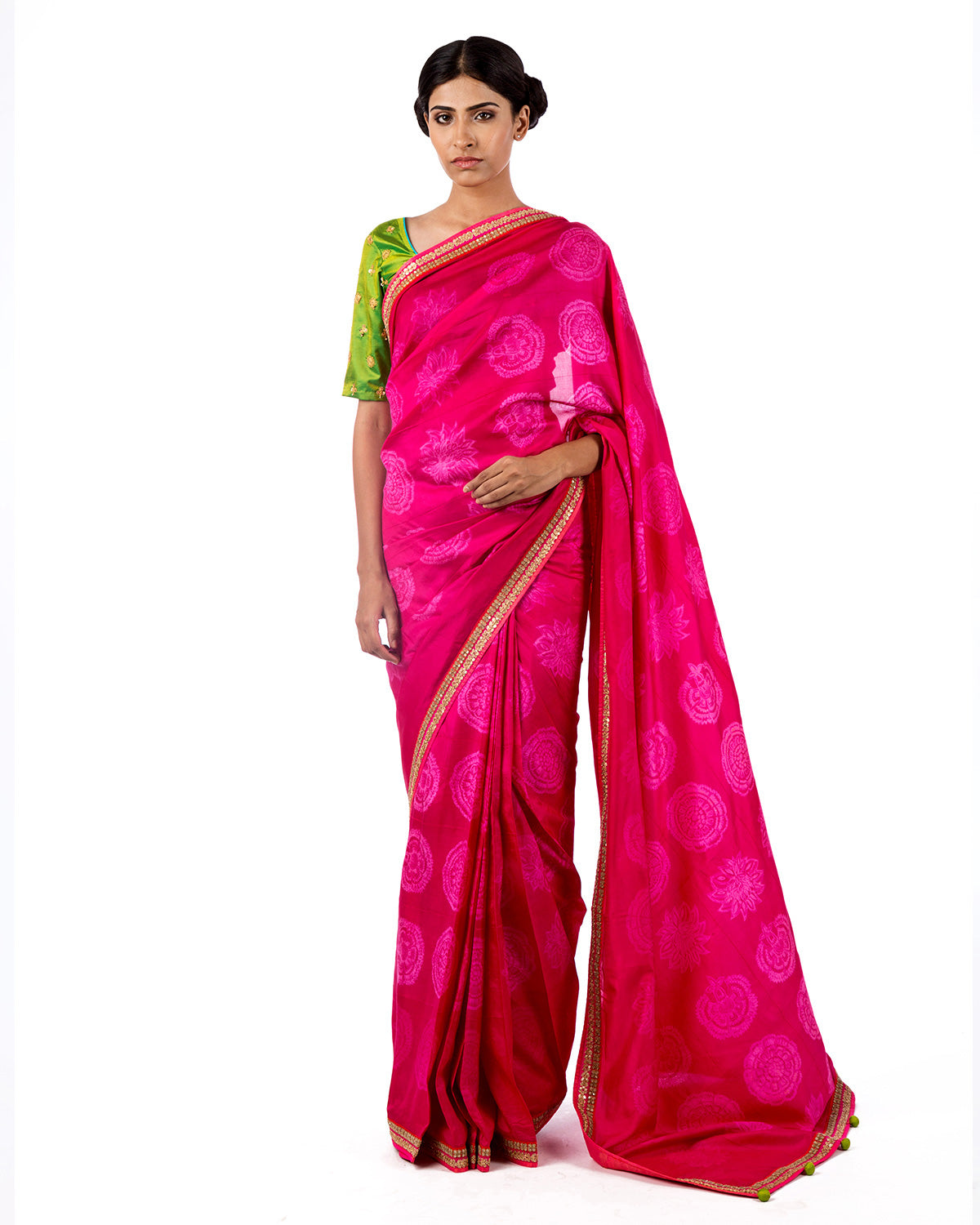 Fuchsia Round Flower Shibori Silk Saree Set
