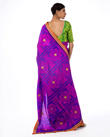 Orchid Square Flower Shibori Silk Saree Set