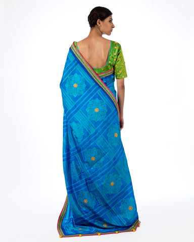 Cobalt Square Flower Shibori Silk Saree Set