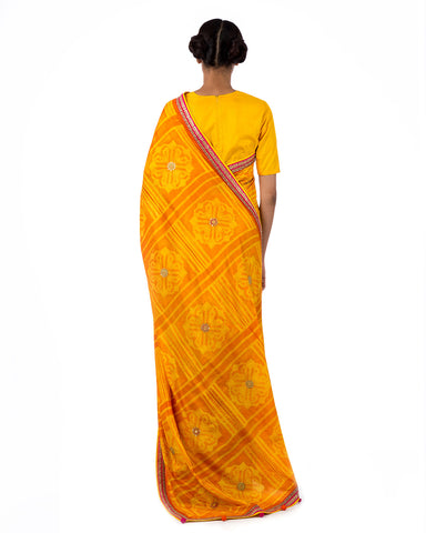 Topaz Square Flower Shibori Silk Saree Set