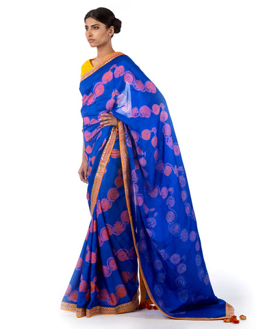 Orchid Round Flower Shibori Silk Saree Set