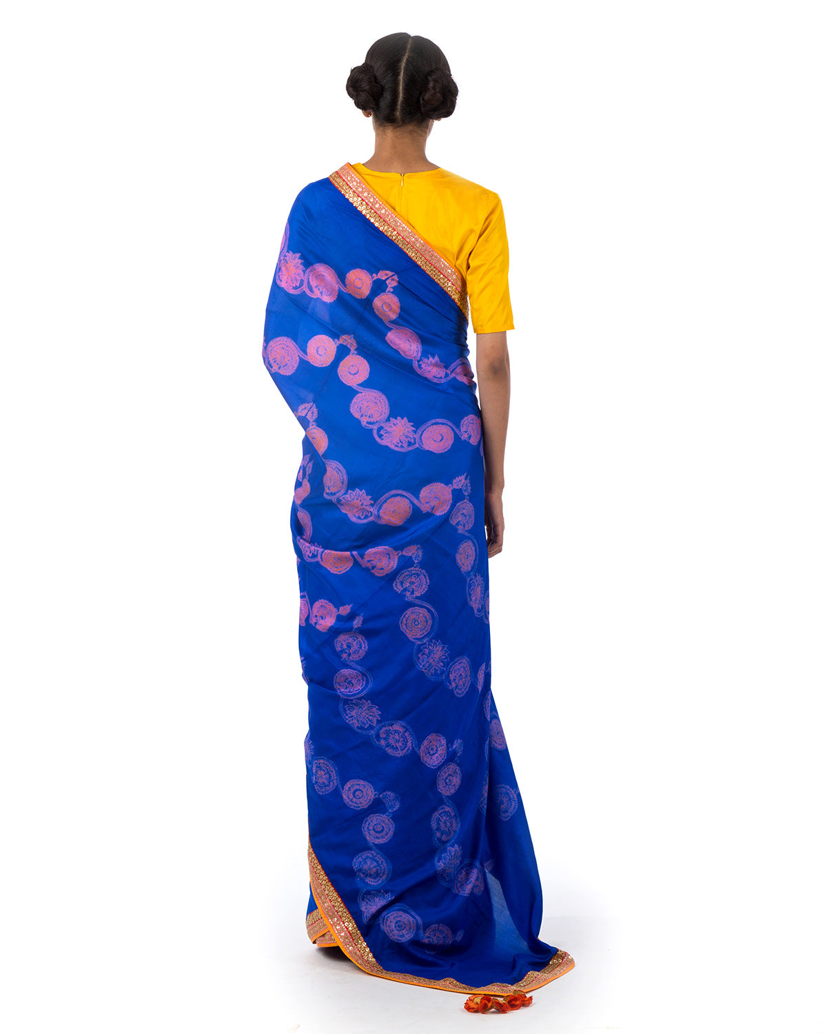 Azure Floral Scallop Shibori Silk Saree Set