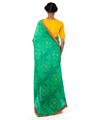 Emerald Square Flower Shibori Silk Saree Set