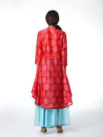 Red Floral Shibori Tunic