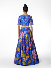 Azure Embroidered Lehenga Skirt And Crop Top