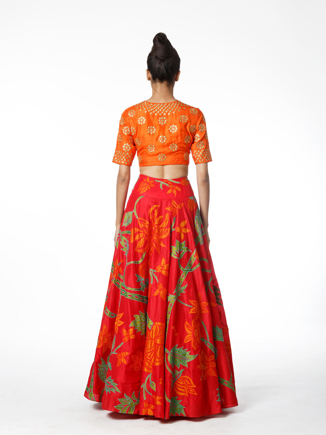 SCARLET EMBROIDERED LEHENGA SKIRT AND TANGERINE CROP TOP