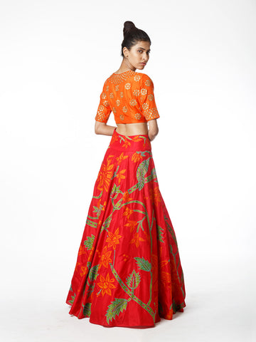 lehenga, crop top, silk, bridal
