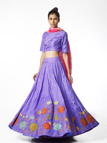 Lehenga, silk, embroidered, choli, crop top, bridal